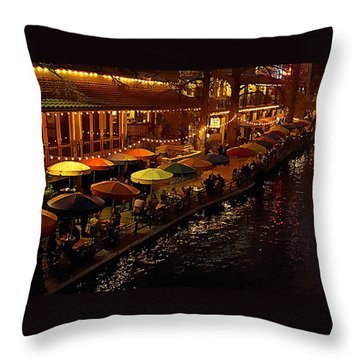 Riverwalk Night Throw Pillow