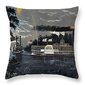 Rl 27835 Rounding A Bend On The Mississippi Steamboat Queen Of The West Litho Throw Pillow