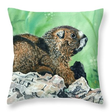 Rmbl Marmot Throw Pillow by Barbara Jewell