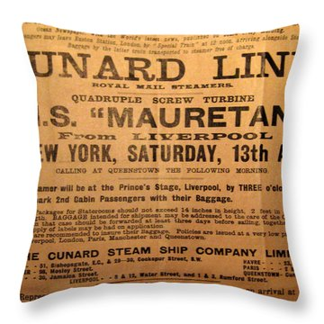 Rms Mauretania 1912 Throw Pillow