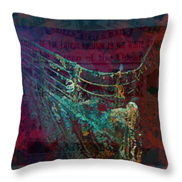 Rms Titanic Sinks  Throw Pillow by Elizabeth McTaggart