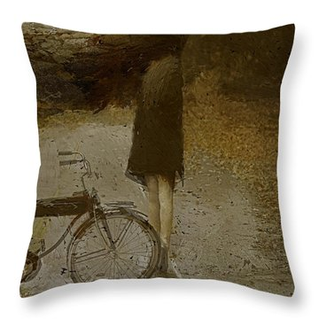 Throw Pillow featuring the digital art Road Closed by Galen Valle