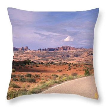 Road Courthouse Towers Arches National Throw Pillow