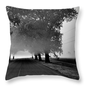 Road Into Morning Mist - Canada Throw Pillow