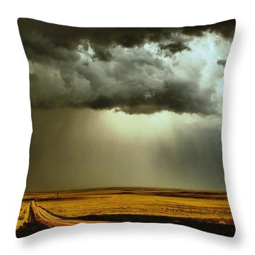 Road Into The Storm Throw Pillow