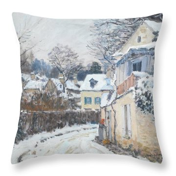 Throw Pillow featuring the painting Road Louveciennes by Alfred Sisley