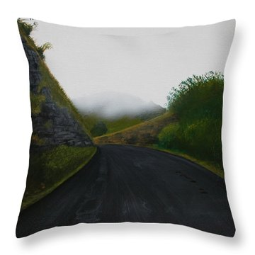 Throw Pillow featuring the painting Road Near Gresford Nsw by Tim Mullaney