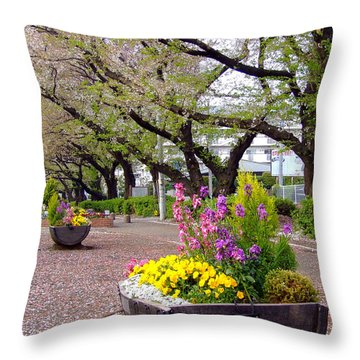 Throw Pillow featuring the photograph Road Of Flowers by Andrea Anderegg