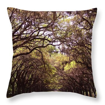 Road Of Trees Throw Pillow