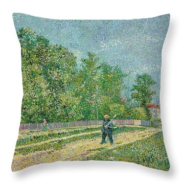 Road On The Edge Of Paris Throw Pillow by Vincent Van Gogh