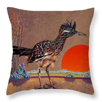 Road Runner At Sundown Throw Pillow by Bob Coonts