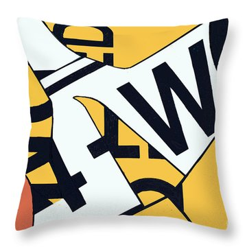 Road Sign Collage Throw Pillow