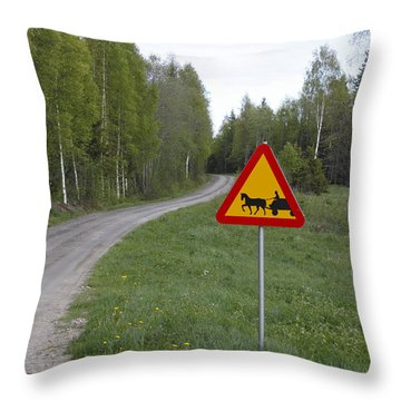 Road Sign With Carriage Throw Pillow by Ulrich Kunst And Bettina Scheidulin