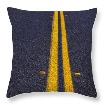 Road Stripe  Throw Pillow by Garry Gay