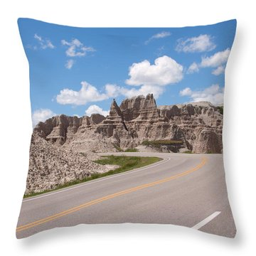 Road Through The Badlands Throw Pillow