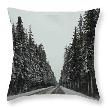 Road To Banff Throw Pillow by Cheryl Miller
