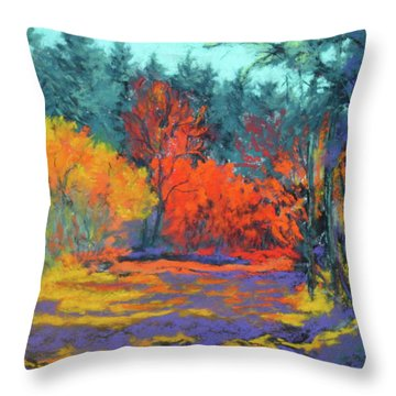 Throw Pillow featuring the painting Road To Deer Creek by Nancy Jolley