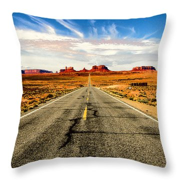 Road To Navajo Throw Pillow