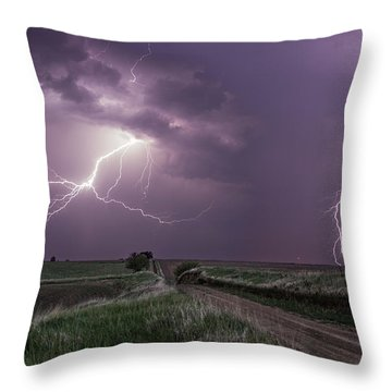 Road To Nowhere - Lightning Throw Pillow