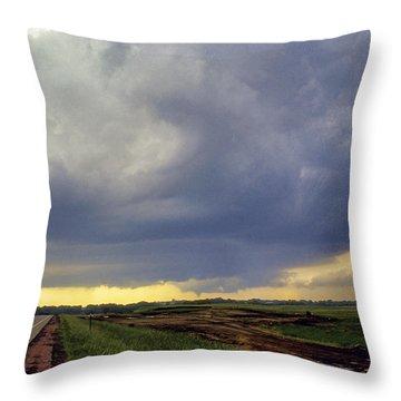 Road To The Tornado - Woonsocket South Dakota Throw Pillow by Jason Politte