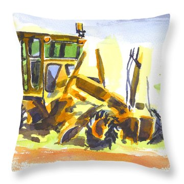 Roadmaster Tractor In Watercolor Throw Pillow