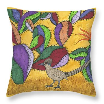 Roadrunner And Prickly Pear Cactus Throw Pillow