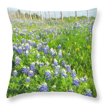 Roadside Bluebonnets  Throw Pillow
