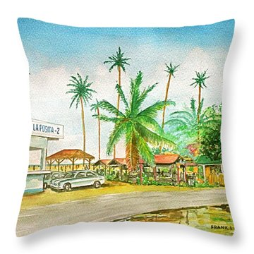 Roadside Food Stands Puerto Rico Throw Pillow by Frank Hunter