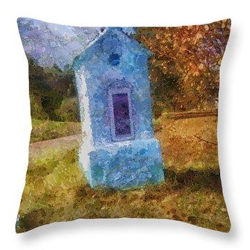 Roadside Shrine Throw Pillow by Mo T