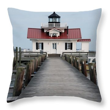 Roanoke Marshes Lighthouse Throw Pillow by Kelvin Booker