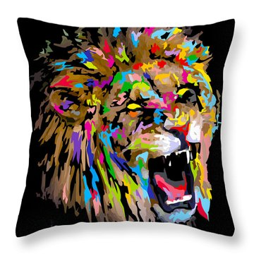 Throw Pillow featuring the digital art Roar by Anthony Mwangi