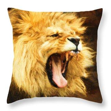 Roaring Lion Throw Pillow