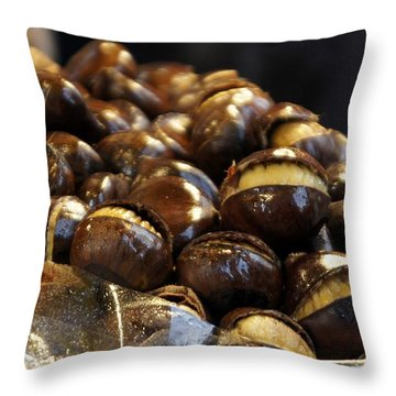 Throw Pillow featuring the photograph Roasted Chestnuts by Lilliana Mendez