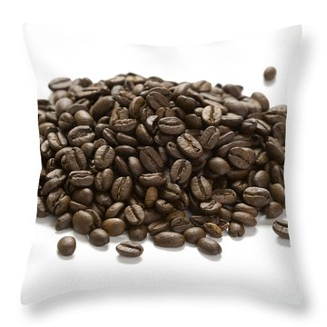 Throw Pillow featuring the photograph Roasted Coffee Beans by Lee Avison