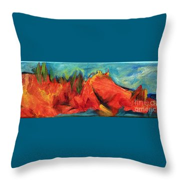Roasted Rock Coast Throw Pillow by Elizabeth Fontaine-Barr