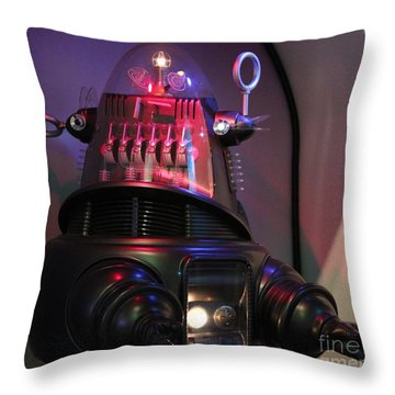 Throw Pillow featuring the photograph Robby The Robot 1956 by Cynthia Snyder