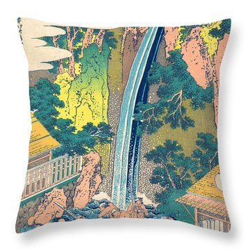 Roben Waterfall At Oyama In Sagami Province Throw Pillow