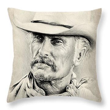 Robert Duvall Sepia Scratch Throw Pillow