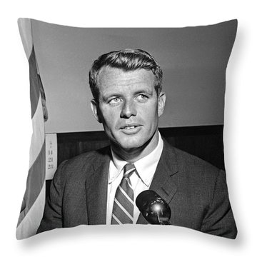 Throw Pillow featuring the photograph Robert Kennedy 1961 by Martin Konopacki Restoration