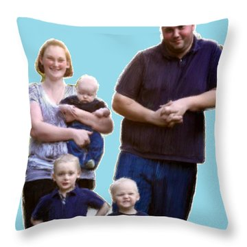 Throw Pillow featuring the painting Robert Nutting Family by Bruce Nutting