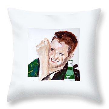 Throw Pillow featuring the painting Robert Pattinson 190 by Audrey Pollitt