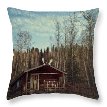 Robert Service Cabin Throw Pillow by Priska Wettstein