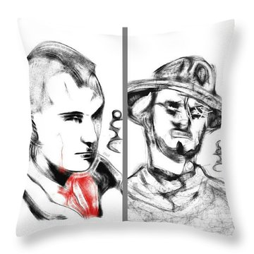 Robert De Niro And Clint Eastwood Throw Pillow by Nuno Marques