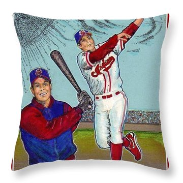 Roberto Alomar Hall Of Fame Throw Pillow by Ray Tapajna