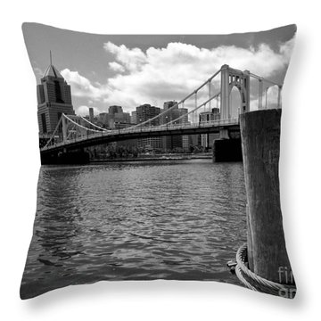 Roberto Clemente Bridge Pittsburgh Throw Pillow by Amy Cicconi