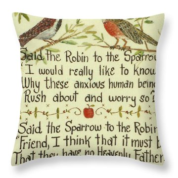 Robin And Sparrow Throw Pillow by Lou Ann Bagnall