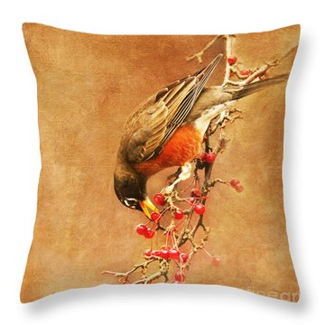 Robin Eating Berries Throw Pillow by Olivia Hardwicke