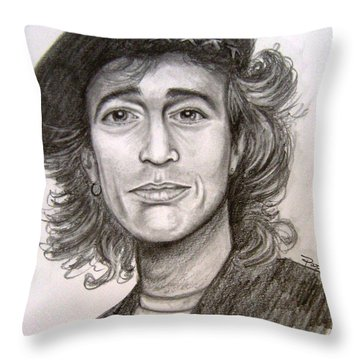 Robin Gibb Throw Pillow by Patrice Torrillo