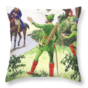 Robin Hood, From Peeps Into The Past Throw Pillow