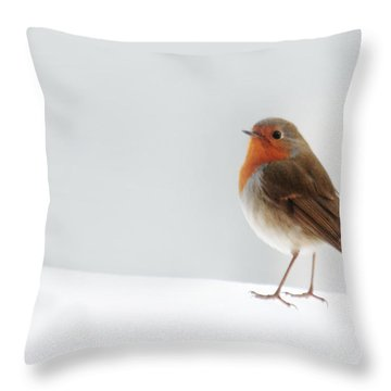 Robin Into The Snow Throw Pillow